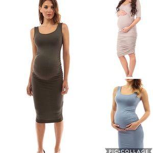 THREE Solid Scoop Neck Maternity Tank Dresses